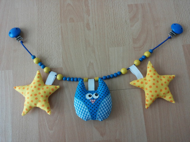 Kinderwagenkette Sterne Eulen Blau